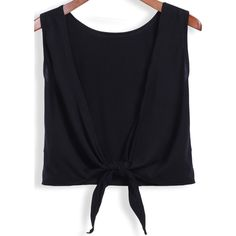 SheIn(sheinside) Black Round Neck Backless Knotted Tank Top ($7.99) ❤ liked on Polyvore featuring tops, black, black camisole top, cami tank tops, cotton tank tops, black top and black tank