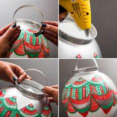 Turn a glass globe + a hose clamp into a big DIY Christmas ornament for the holidays.