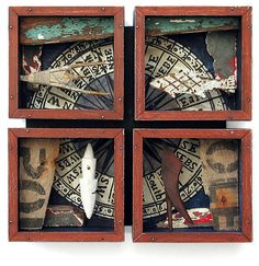 Boxing the Compass -   By Alex Malcolmson;   Found material, carved and painted wood,collage.