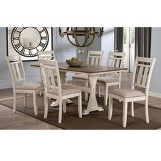 Roseberry Shabby Chic French Country Cottage Antique Oak Wood and Distressed White 7-Piece Dining Set | Overstock.com Shopping - The Best Deals on Dining Sets