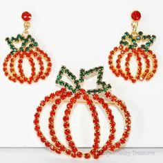 HALLOWEEN Orange Glass Rhinestone Pumpkin Gold Pin Pierced Earrings Set NEW $29