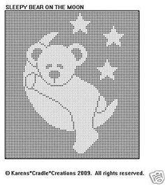 Sleepy Bear on The Moon Pattern Filet Crochet for sale online Boy Crochet Patterns, Baby Afghan Crochet, Filet Crochet Charts, Knitting Charts, Crochet Stitches, Cross Stitch Pattern Maker, Cross Stitch Patterns, Cross Stitch Silhouette, Sleepy Bear