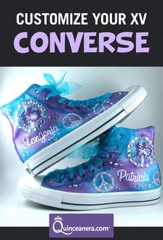 Whether you want some bling bling, animal print, or graffiti, the sky is the limit when you design your very own pair of Quinceanera converse.