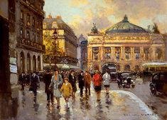Edouard Leon Cortes, Place de l'Opera, Paris