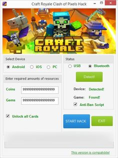 Do you need additional Unlimited Gems, Unlimited Coins? Try the newest online cheat tool. Be better than your friends, and gain advantage easily! Hack Craft Royale Clash of Pixels directly from your browser. Coin Crafts, Gem Crafts, Sarah Butler, Game Gem, Free Gems, Test Card, Cheating, Your Cards, Hacks