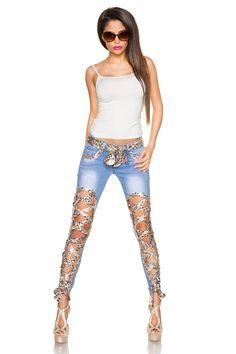 Pantaloni originali, din denim, cu sireturi din material cu paiete
