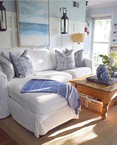 Coastal Living Room Decor Photos, Home Decorators Collection Aldridge Coastal Living Rooms, Cottage Living, Coastal Cottage, Coastal Homes, Living Room Decor, Beach Living Room, Coastal Decor, Cozy Cottage, Country Living
