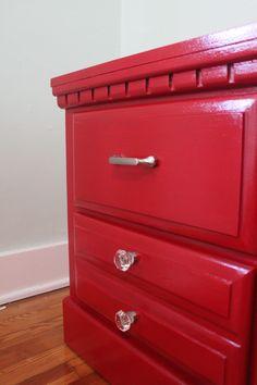 my red DIYed nightstands! #red #nightstand #bedroom #DIY