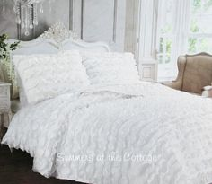 FRENCH CHATEAU SATIN CREPE PETTICOAT RUFFLED QUILT SET - SNOW WHITE or PINK