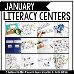 January Literacy Centers for Kindergarten | With this 126 page download, your Kinders will work on sight words, sorts, letters, sounds, writing, and more. You get four weeks worth of centers. They are NOT thematic, so they can be used at any time and in a variety of classroom or homeschool settings. You get the actual stations, organization & management ideas, plus student instruction cards. Click through to grab these for your Kindy students today.