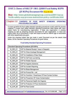 ISO 22000 SOP covers guideline for standard operating procedures of food safety management system implementation. It includes haccp sop for all department of food management system.