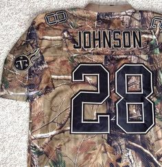 rare vtg CHRIS JOHNSON TENNESSEE TITANS JERSEY Camo/Camouflage MEN LRG (fit XL?) #Reebok #TennesseeTitans