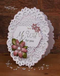 Card made using Spellbinder Victorian Heirloom oval die, Spellbinders Tranquil Moments die and Heartfelt Creations sentiment, flowers and leaves stamps and dies. Made by Liz Walker