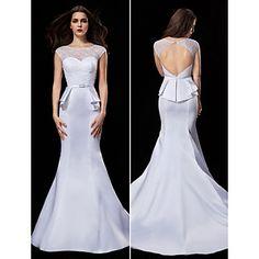 Trumpet/Mermaid Jewel Court Train Wedding Dress (Satin) - USD $ 139.99