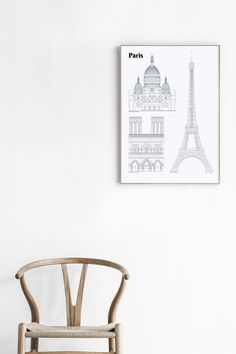 Paris Landmarks 50 x 70 cm by studio esinam