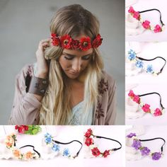 Fashion Women Girl s Flower Head Hollow Elastic Hair Band Headband Wedding Party | eBay