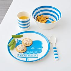 Shop Children's Melamine Dinner Set: Blue Whale.  Durable, shatterproof kids utensils are made from melamine and feature a charming whale illustration.