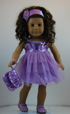 Sparkle and Shine Lavender Dress outfit includes Sequin Shoes and fits 18 inch American Girl Dolls. Doll Clothes Shop http://www.amazon.com/dp/B00JF26RGU/ref=cm_sw_r_pi_dp_vchjub0RGB3P9