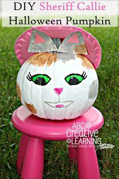 DIY Sheriff Callie Halloween Pumpkin Craft by http://abccreativelearning.com/diy-sheriff-callie-halloween-pumpkin-craft/ #halloweendecoration #showyourdisneyside