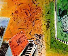 HOMAGE to CLAUDE DEBUSSY, 1952 -Raoul Dufy. Naïve Art (Primitivism) Los fauves (que significa «fieras», «bestias salvajes») trabajaban con colores llamativos e irreales y atrevidas formas; ricos contornos marcaban su obra. Dufy adoptó este estilo al que añadió un trazo vigoroso y espontáneo. La pintura de Dufy refleja este enfoque hasta alrededor de 1909, cuando el contacto con la obra de Paul Cézanne le lleva a adoptar una técnica algo más sutil. En el año 1920, después de haber hecho sus…
