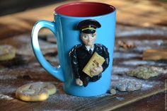 Купить Кружка с декором Полицейский - тёмно-бирюзовый, полимерная глина, подарок, подарок на любой случай