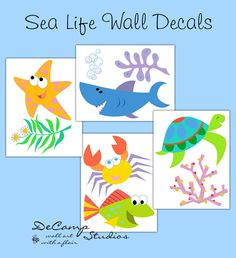 Sea Life Ocean Animal Creatures wall decals for baby boy or girl nursery room decor. Includes a shark, star fish, sea turtle, crab, fish, seaweed, and coral #decampstudios