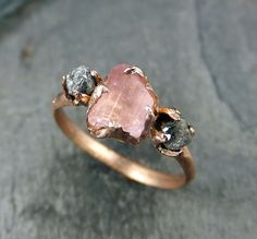 CUSTOM Raw Pink Tourmaline Diamond 14k Rose Gold door byAngeline