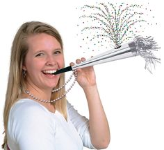 Silver beads have an attached confetti horn attached. The horn will continue to make noise after the confetti is blown out.