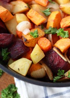 Easy Oven Roasted Root Vegetables by bredid: This easy and colorful side dish is perfect for any meal. #Root_Vegetables #Healthy