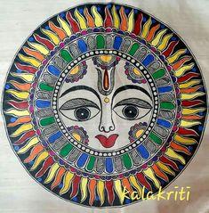 Madhubani Art, Madhubani Painting, Kalamkari Painting, Mural Painting, Paintings, Sun Moon Stars, Sun Art, Angel Art, Hand Embroidery Designs