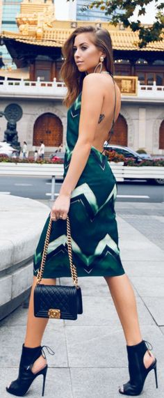 Green Print Backless Little Dress Fall Inspo by #Kenzas | Repinned by| Fashionista-Princess-Jewelry.com