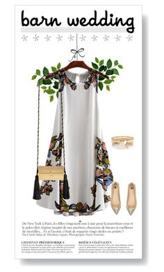 """""""Gold in flowers"""" by ekaterina-uglyanitsa ❤ liked on Polyvore featuring Yves Saint Laurent, River Island, Anja, bestdressedguest and barnwedding"""