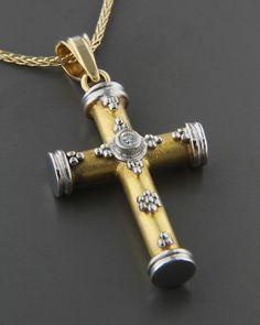 Σταυρός χρυσός & λευκόχρυσος Κ14 με Ζιργκόν Cross Jewelry, Jewelry Art, Antique Jewelry, Vintage Jewelry, Jewelry Design, Cross Art, Cross Chain, Gold Chains For Men, Christian Jewelry