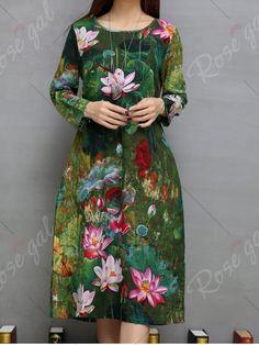Lotus Print Pockets Design A-Line Dress