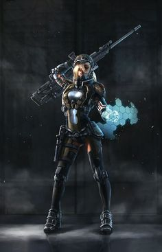 Ranger by diceartist cyberpunk cyberpunk, fantasy art ve fut Futuristic Armour, Futuristic Art, Female Armor, Female Soldier, Character Inspiration, Character Art, Character Design, Writing Inspiration, Fantasy Warrior