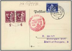 Germany, German Empire, Zeppelin mail, 30. 08. 1936, card of the drive to the Leipzig fair (victor no. 365 B) (Michel. No. DR 620, 623). Price Estimate (8/2016): 20 EUR. Unsold.