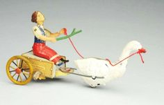 "German Stock Tin Litho Wind-up Woman & Goose Toy. Marked ""DRGM"" on the sides and ""Stock"" on the back. Toy depicts woman in cart being pulled by the goose. When in operation, the womans hands go up and down as do the goose's wings. Difficult toy to find. Some minor to moderate wear."