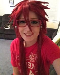 Shoots self My wig is cray but I can't even help it at this point lol (shitz gonna make me nuts) I can't find my good lashes so I'm wearing my hooker lashes rip #blackbutler #blackbutlercosplay #kuroshitsuji #kuroshitsujicosplay #grell #grellsutcliff #grellcosplay #grellsutcliffcosplay #anime #animecosplay #cosplayer #cosplayers #coser #cosplay