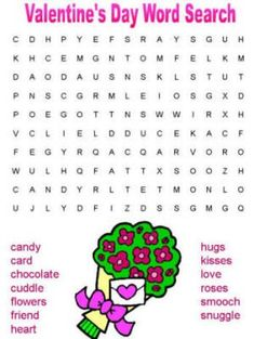 Valentine's Day Word Search, use words for Pictionary game