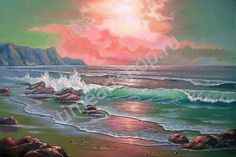 """Oleg Kulagin """"Рассвет на берегу океана"""", картины раскраски по номерам, своими руками, размер 40*50см, цена 750 руб."""
