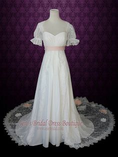 1920s Regency Style Empire Lace Wedding Dress w/ Sleeves Peach Flowers