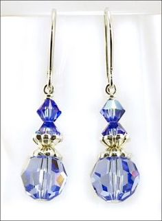 Blue As Can Be Earrings with Sapphire Swarovski Crystal Beads | Jewelry Project Kit | Harlequin Beads and Jewelry Custom Kits