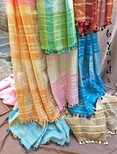 Flurry of handwoven light colored, elegant linen saris in our new Linen & Khadi collection. #6yards
