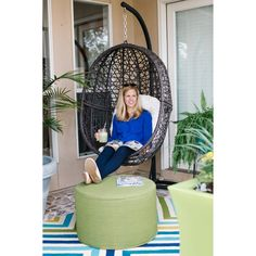 Island Bay Resin Wicker Hanging Egg Chair With Cushion And Stand   Hammock  Chairs U0026 Swings