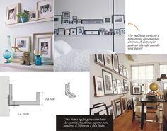 Canaletas de madeira para suporte de quadros e porta retratos.
