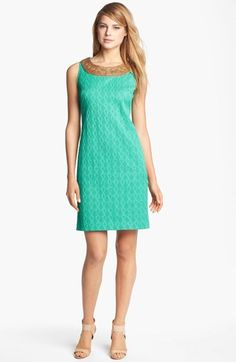 Adrianna Papell Embellished Jacquard Shift Dress available at #Nordstrom. I love the neck detail on this item.