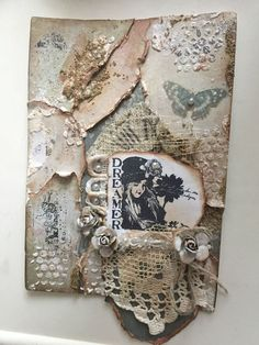 Mixed media OOAK Collage book page, journal cover, wall hanging, lace vintage