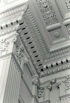 The elaborate plaster detailing on the walls and ceiling of the Grand Ballroom, unearthed during the 2003 restoration, had been hidden by a two-story structure of office cubicles built inside the cavernous space. Classic Architecture, Architecture Details, Interior Architecture, Roman Architecture, Gypsum Decoration, Classic Ceiling, Plaster Art, Small Home Offices, Ceiling Detail