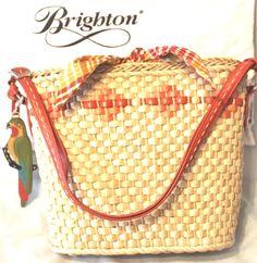 RARE BRIGHTON Straw Tote Crossbody Bag CARLITA  NWT $150.  Parrot Charm Gift Bag #Brighton #ShoulderBag