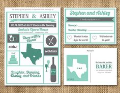 a5e6d6f157bcdf5e11706780280b3474 postcard wedding invitation teal wedding invitations hilarious rsvp return cards ) i finally made a wedding board,Modern Vintage Invitations